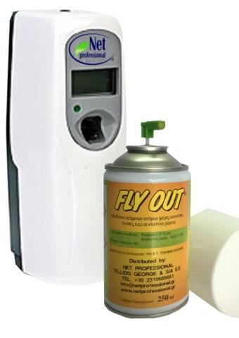 Συσκευή Εντομοαπώθησης Χώρου (1 Συσκευή Spray + 1 Τεμ. Fly Out Καταπολεμά ΜΥΓΕΣ ΚΟΥΝΟΥΠΙΑ ΣΚΝΙΠΕΣ Σε Κλειστούς Χώρους)