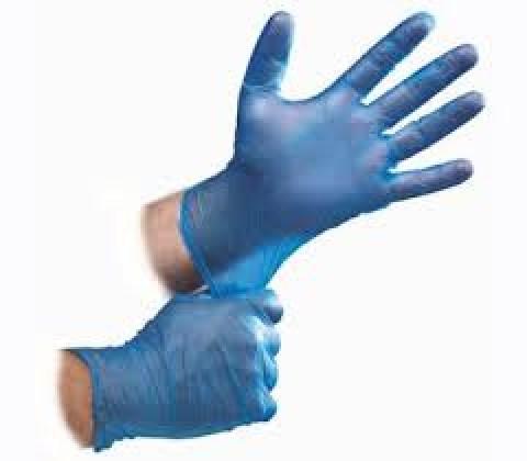 Γάντια Βινυλίου Μιάς Χρήσης Χωρίς Πούδρα (Μπλε)